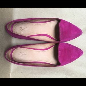 Joie leather suede pink flats. Super cute!